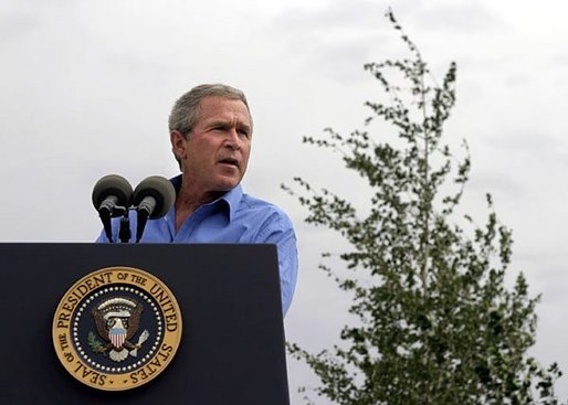 President George W. Bush talks about his healthy forest initiative in Redmond, Ore., Thursday, August 21, 2003. White House photo by Paul Morse.
